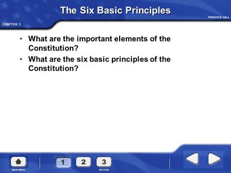CHAPTER 3 The Six Basic Principles What are the important elements of the Constitution? What are the six basic principles of the Constitution?