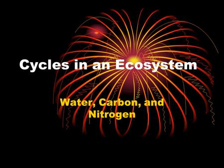 Cycles in an Ecosystem Water, Carbon, and Nitrogen.
