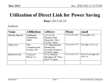 Submission doc.: IEEE 802.11-13/325r0 Mar. 2013 Shusaku Shimada, SchubiquistSlide 1 Utilization of Direct Link for Power Saving Date: 2013-03-19 Authors: