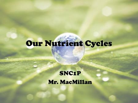 Our Nutrient Cycles SNC1P Mr. MacMillan. THE WATER CYCLE.