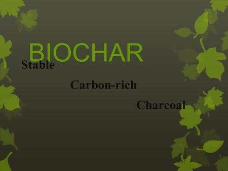 BIOCHAR Stable Carbon-rich Charcoal. WHAT IS BIOCHAR? Biochar is the product of the conversion of agricultural waste. Fine-grained, highly porous charcoal.