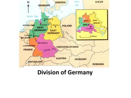 Division of Germany. Yalta Conference Before the end of the war, Allied leaders met at Yalta Agreed to divide Germany into zones of occupation Germany.