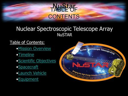 TABLE OF CONTENTS Table of Contents: Mission Overview Timeline Scientific Objectives Spacecraft Launch Vehicle Equipment Nuclear Spectroscopic Telescope.