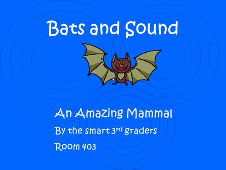 Bats and Sound An Amazing Mammal By the smart 3 rd graders Room 403.