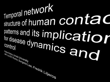 Network theory 101 Temporal effects What we are interested in What kind of relevant temporal /topological structures are there? Why? How does.