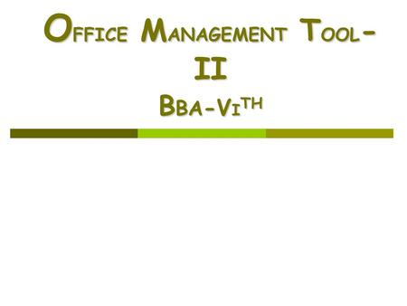 O FFICE M ANAGEMENT T OOL - II B BA -V I TH. Abdus Salam2 Week-7 Introduction to Query Introduction to Query Querying from Multiple Tables Querying from.