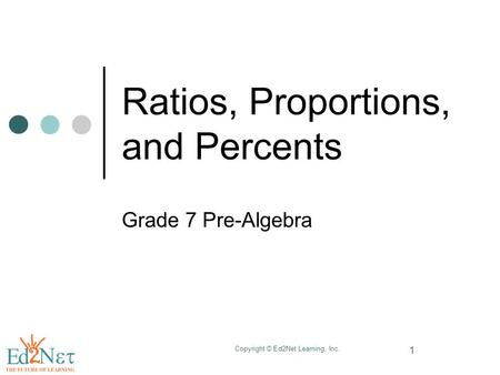 Copyright © Ed2Net Learning, Inc. 1 Ratios, Proportions, and Percents Grade 7 Pre-Algebra.
