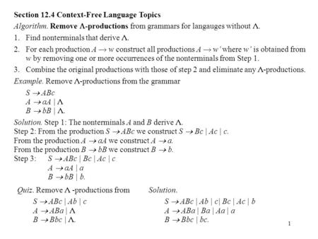 Section 12.4 Context-Free Language Topics