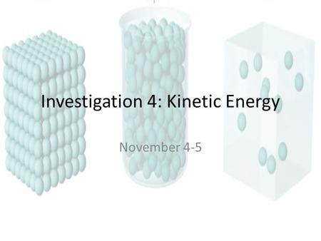 Investigation 4: Kinetic Energy November 4-5. Warm Up Explain gas compression and expansion.