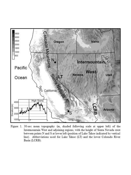 500 1000 1500 2000 2500 3000 3500 Figure 1. 30-sec mean topography (m, shaded following scale at upper left) of the Intermountain West and adjoining regions,