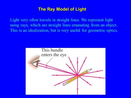 Light very often travels in straight lines. We represent light using rays, which are straight lines emanating from an object. This is an idealization,