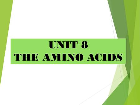 UNIT 8 THE AMINO ACIDS. LEARNING OBJECTIVES  State the composition and describe the structure of amino acids.  Classify amino acids.  List essential,