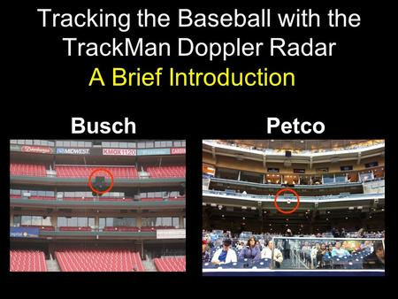 Petco Tracking the Baseball with the TrackMan Doppler Radar A Brief Introduction Busch.