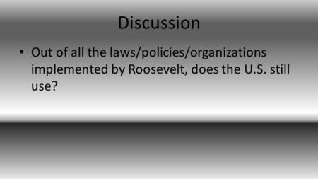 Discussion Out of all the laws/policies/organizations implemented by Roosevelt, does the U.S. still use?