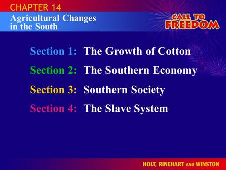 Section 1:The Growth of Cotton Section 2:The Southern Economy Section 3:Southern Society Section 4:The Slave System CHAPTER 14 Agricultural Changes in.