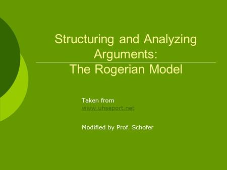 Structuring and Analyzing Arguments: The Rogerian Model Taken from www.uhseport.net Modified by Prof. Schofer.