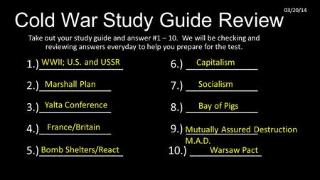 Cold War Study Guide Review