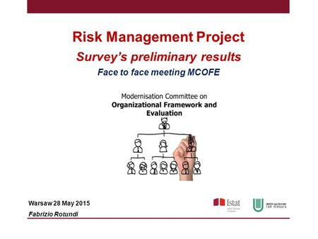 Risk Management Project Survey's preliminary results Face to face meeting MCOFE Warsaw 28 May 2015 Fabrizio Rotundi.