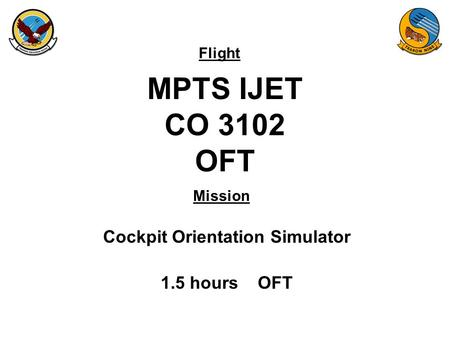 Flight Mission MPTS IJET CO 3102 OFT Cockpit Orientation Simulator 1.5 hours OFT.