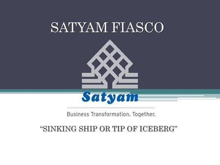 """SINKING SHIP OR TIP OF ICEBERG"""
