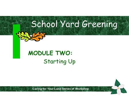 School Yard Greening MODULE TWO: Starting Up Caring for Your Land Series of Workshops Caring for Your Land Series of Workshop.