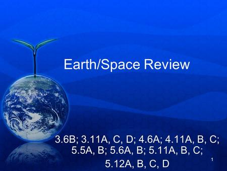 1 Earth/Space Review 3.6B; 3.11A, C, D; 4.6A; 4.11A, B, C; 5.5A, B; 5.6A, B; 5.11A, B, C; 5.12A, B, C, D.