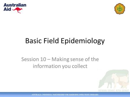 AUSTRALIA INDONESIA PARTNERSHIP FOR EMERGING INFECTIOUS DISEASES Basic Field Epidemiology Session 10 – Making sense of the information you collect.