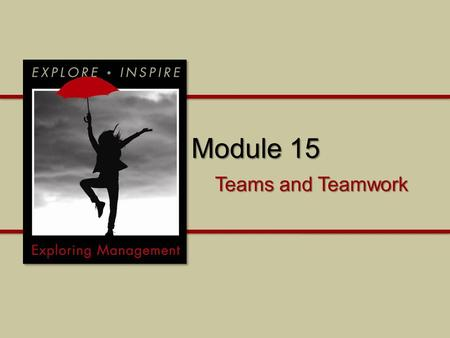 Module 15 Teams and Teamwork. Module 15 Why is it important to understand teams and teamwork? What are the building blocks of successful teamwork? How.
