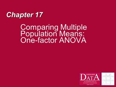 Chapter 17 Comparing Multiple Population Means: One-factor ANOVA.