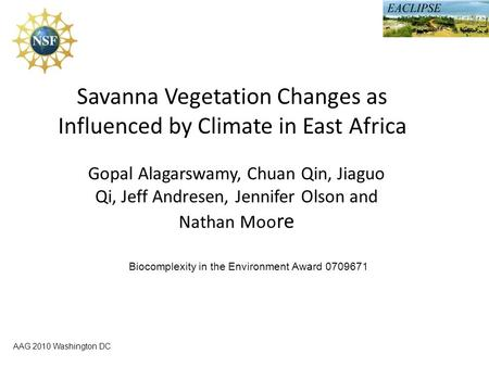 AAG 2010 Washington DC Savanna Vegetation Changes as Influenced by Climate in East Africa Gopal Alagarswamy, Chuan Qin, Jiaguo Qi, Jeff Andresen, Jennifer.