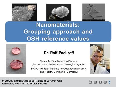 8 th EU/US Joint Conference on Health and Safety at Work Fort Worth, Texas, 17 – 19 September 2015 Nanomaterials: Grouping approach and OSH reference values.