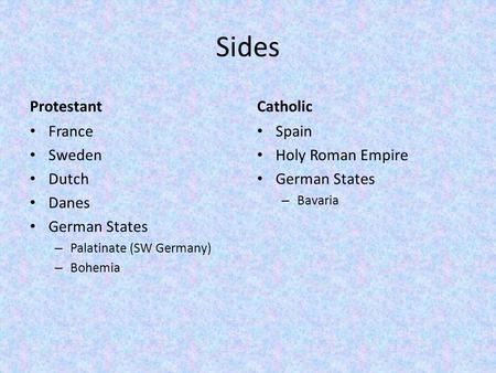Sides Protestant France Sweden Dutch Danes German States – Palatinate (SW Germany) – Bohemia Catholic Spain Holy Roman Empire German States – Bavaria.