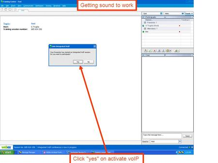 Click yes on activate voIP Getting sound to work.