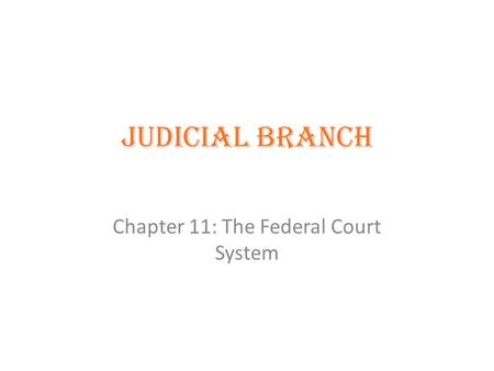 Judicial Branch Chapter 11: The Federal Court System.