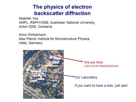 The physics of electron backscatter diffraction Maarten Vos AMPL, RSPHYSSE, Australian National University, Acton 0200, Canberra Aimo Winkelmann Max Planck.