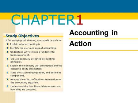 CHAPTER1 Accounting in Action. Chapter 1: Accounting in action What is accounting?The building blocks of accountingThe basic accounting equationUsing.