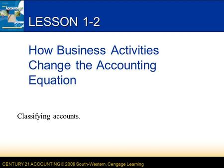 CENTURY 21 ACCOUNTING © 2009 South-Western, Cengage Learning LESSON 1-2 How Business Activities Change the Accounting Equation Classifying accounts.