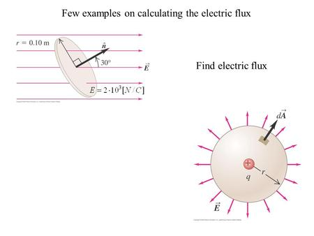 Few examples on calculating the electric flux