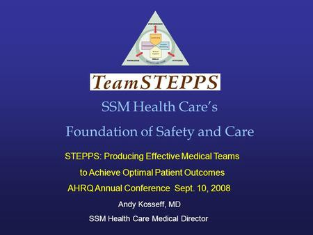 SSM Health Care's Foundation of Safety and Care STEPPS: Producing Effective Medical Teams to Achieve Optimal Patient Outcomes AHRQ Annual Conference Sept.