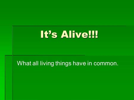 It's Alive!!! What all living things have in common.