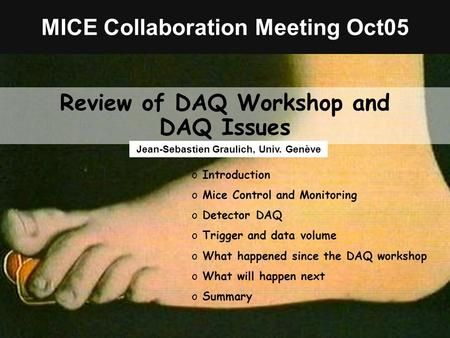 Mice CM Oct 2005Jean-Sébastien GraulichSlide 1 MICE Collaboration Meeting Oct05 Review of DAQ Workshop and DAQ Issues Jean-Sebastien Graulich, Univ. Genève.