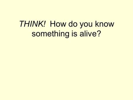 THINK! How do you know something is alive?. 7 characteristics of living things: 1.Cells 2.Reproduction 3.Homeostasis/metabolism 4.DNA 5.Growth & development.