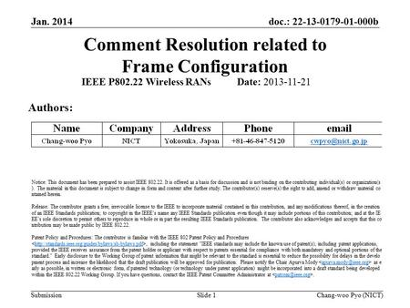Doc.: 22-13-0179-01-000b Submission Comment Resolution related to Frame Configuration Jan. 2014 Chang-woo Pyo (NICT)Slide 1 IEEE P802.22 Wireless RANs.