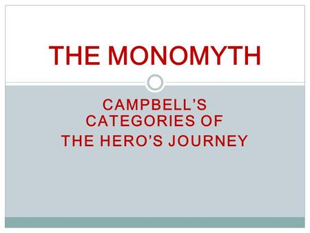 CAMPBELL'S CATEGORIES OF THE HERO'S JOURNEY THE MONOMYTH.