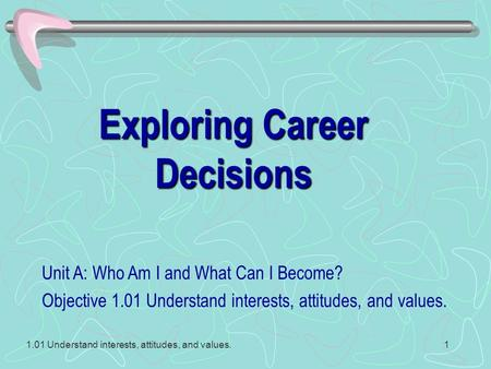 1.01 Understand interests, attitudes, and values.1 Exploring Career Decisions Unit A: Who Am I and What Can I Become? Objective 1.01 Understand interests,
