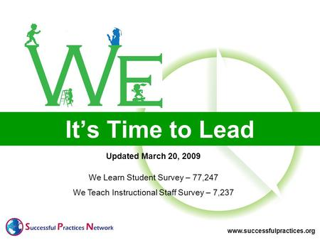 Www.successfulpractices.org It's Time to Lead Updated March 20, 2009 We Learn Student Survey – 77,247 We Teach Instructional Staff Survey – 7,237.