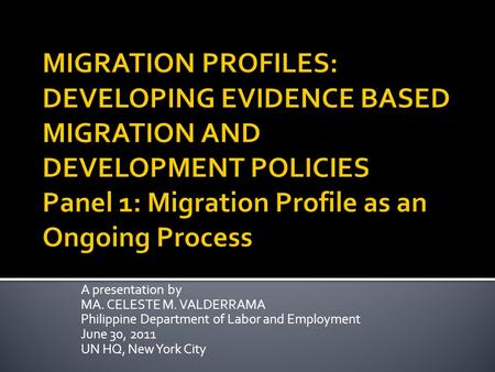 A presentation by MA. CELESTE M. VALDERRAMA Philippine Department of Labor and Employment June 30, 2011 UN HQ, New York City.