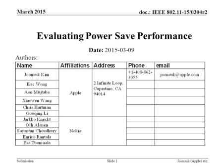 Submission doc.: IEEE 802.11-15/0304r2 March 2015 Joonsuk (Apple) etc.Slide 1 Evaluating Power Save Performance Date: 2015-03-09 Authors: