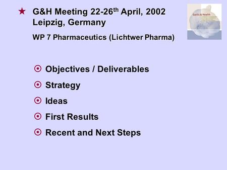  Objectives / Deliverables  Strategy  Ideas  First Results  Recent and Next Steps G&H Meeting 22-26 th April, 2002 Leipzig, Germany WP 7 Pharmaceutics.