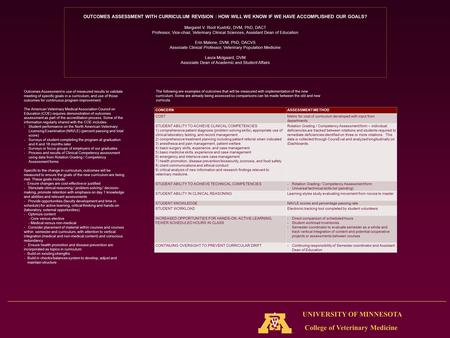 College of Veterinary Medicine UNIVERSITY OF MINNESOTA OUTCOMES ASSESSMENT WITH CURRICULUM REVISION : HOW WILL WE KNOW IF WE HAVE ACCOMPLISHED OUR GOALS?